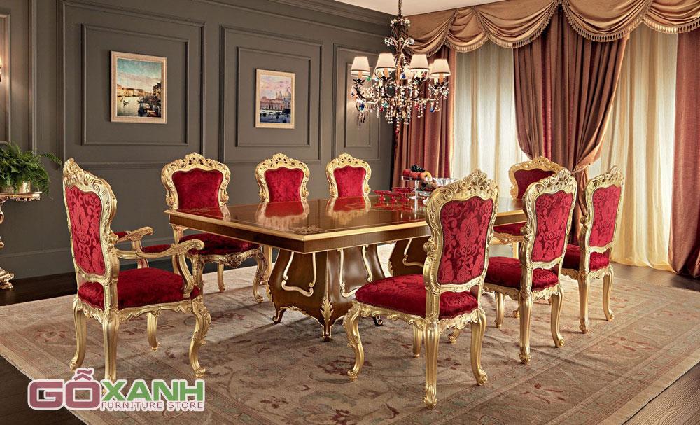 Bàn ăn cổ điển mạ vàng, sự lựa chọn dành cho giới quý tộc