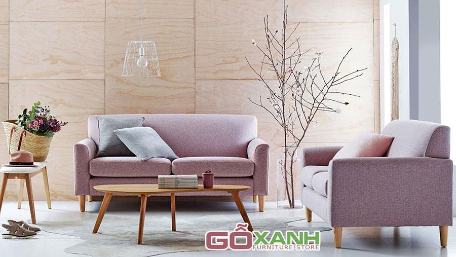 Sofa băng gỗ bọc vải cho không gian quán cà phê